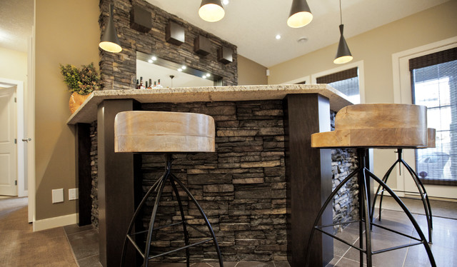 Perfect Transitional Home Bar